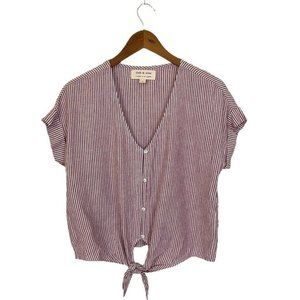 Anthropologie Cloth & Stone Top Red Stripe  Size S